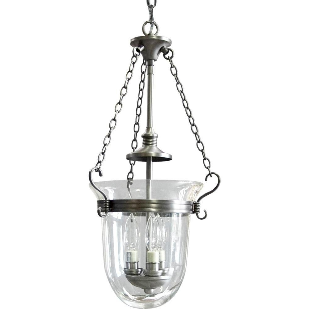 Widely Used Progress Lighting Essex Collection 3 Light Antique Nickel Foyer Within Inverted Pendant Chandeliers (View 8 of 20)