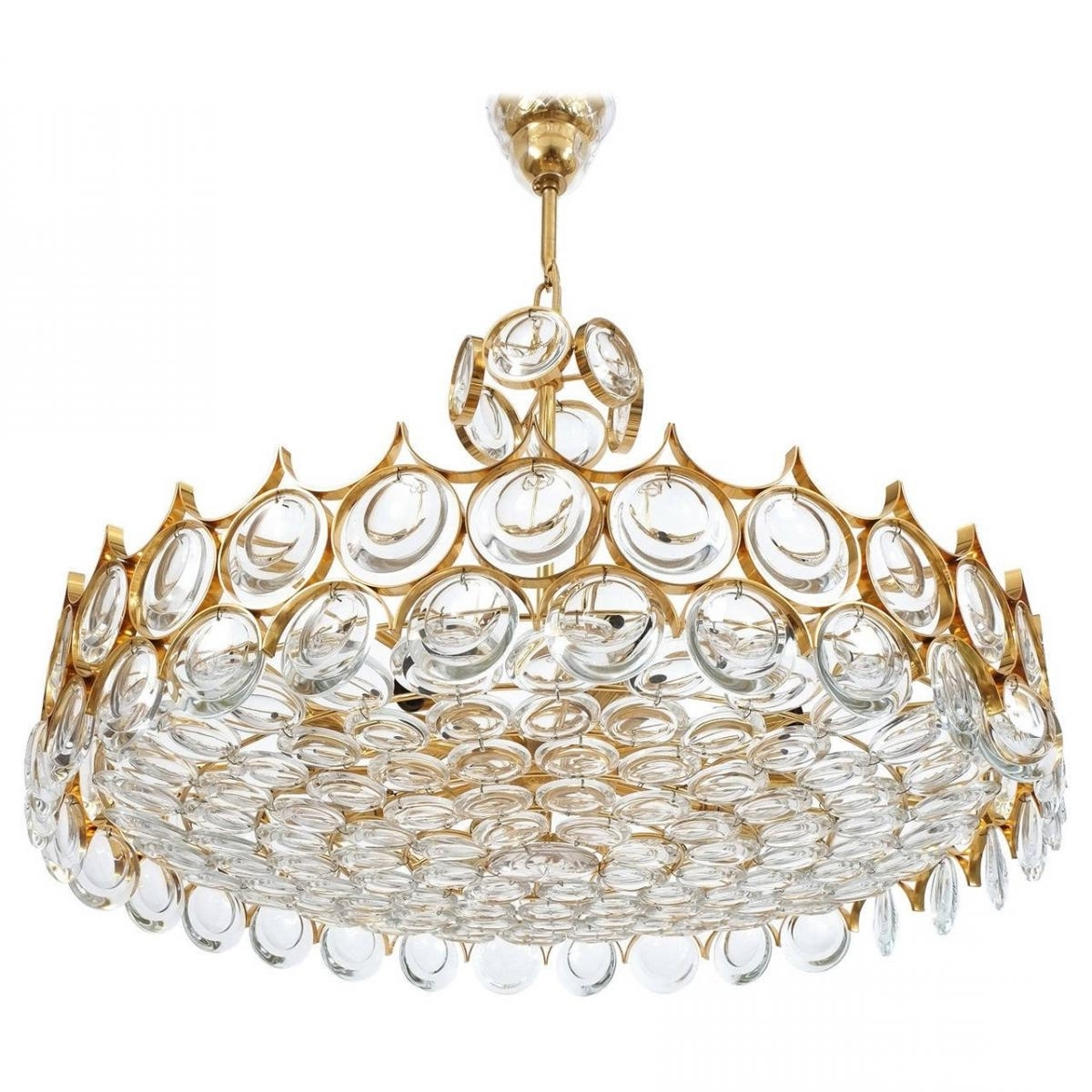 Widely Used Vintage Large Gilded Brass And Glass Chandelierpalwa For Sale At With Regard To Brass And Glass Chandelier (View 10 of 20)