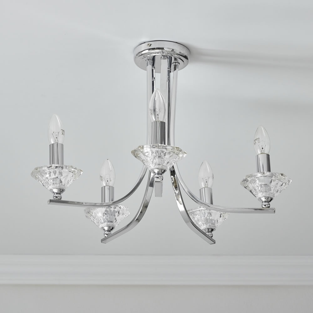 Wilko 5 Arm Chandelier Chrome Effect Ceiling Lightfitting At Wilko In Newest Chandelier Chrome (View 20 of 20)