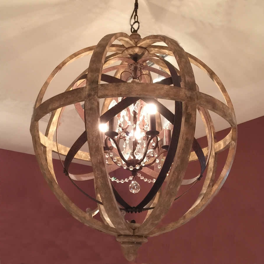 Wooden Orb Chandelier Metal Orb Detail And Crystalcowshed Throughout Preferred Metal Sphere Chandelier (View 4 of 20)