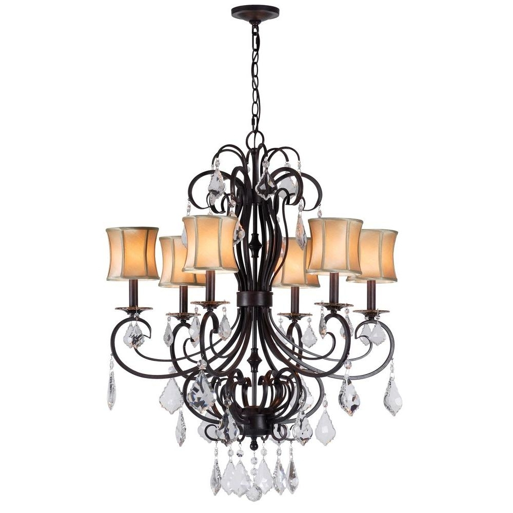 World Imports Annelise 6 Light Bronze Chandelier With Fabric Shades For Most Up To Date Chandelier With Shades And Crystals (View 20 of 20)
