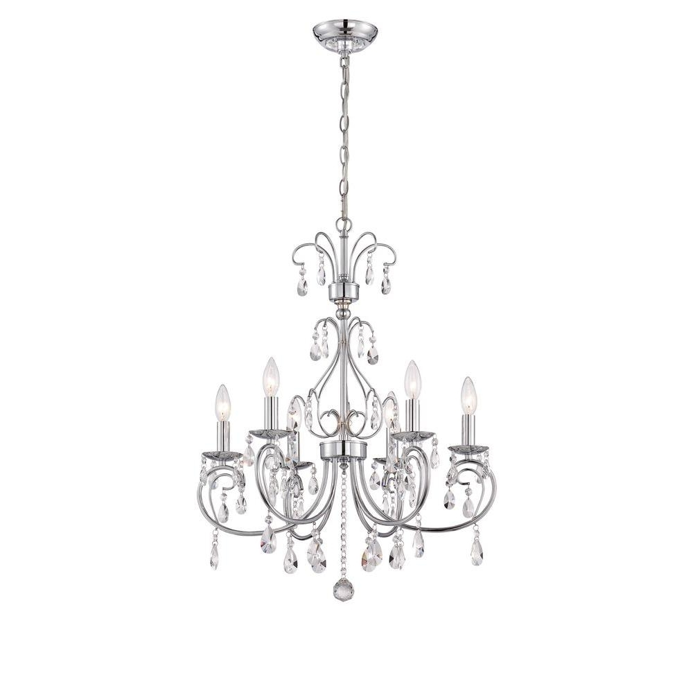 World Imports Kothari 6 Light Chrome Chandelier With Hanging For Most Recently Released Chrome Chandeliers (View 9 of 20)