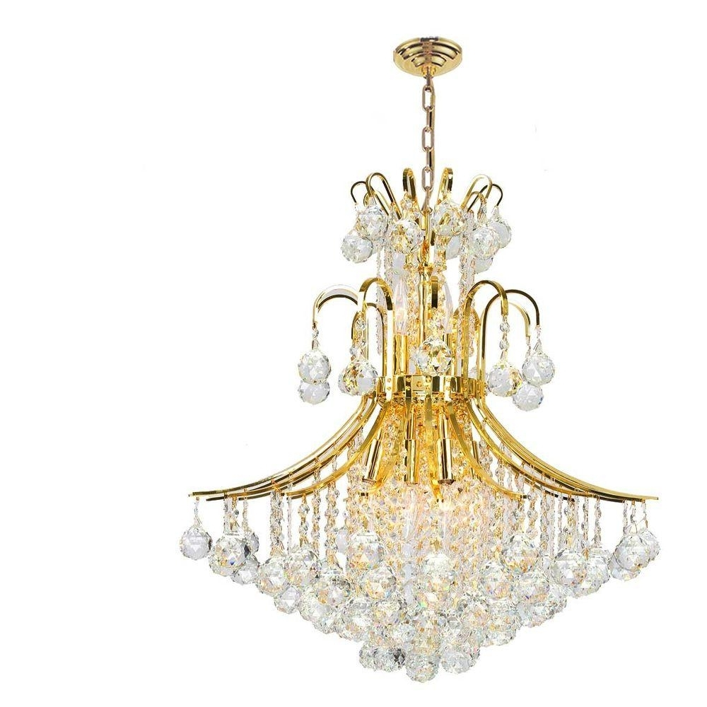 Worldwide Lighting Empire Collection 11 Light Polished Gold Crystal Regarding 2019 Crystal Gold Chandeliers (View 19 of 20)