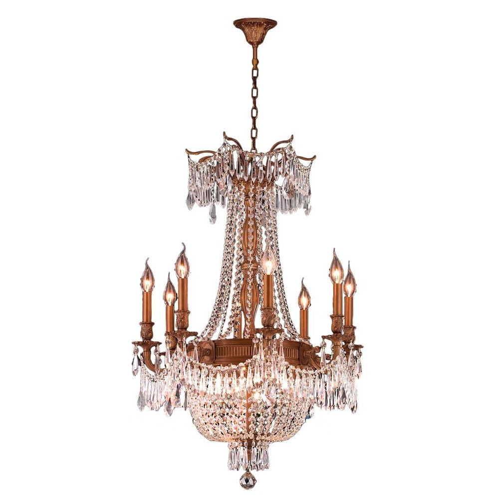 Worldwide Lighting Winchester Collection 12 Light French Gold And In Latest Crystal Gold Chandeliers (View 17 of 20)