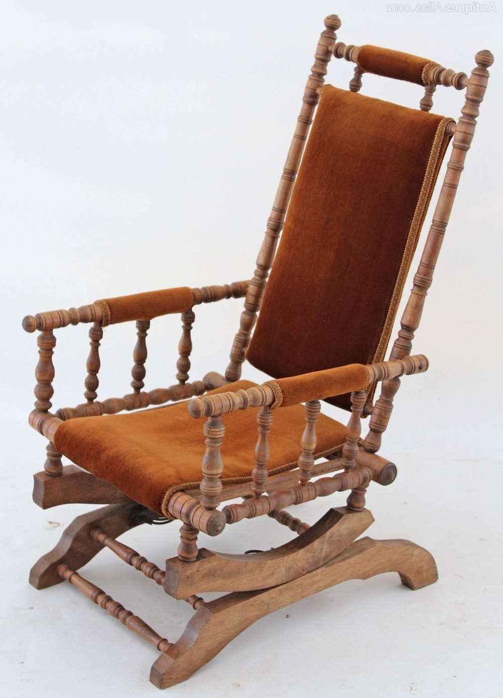 19C Victorian American Walnut Beech Rocking Chair – Antiques Atlas With  Famous Victorian Rocking Chairs ( - 2018 Latest Victorian Rocking Chairs