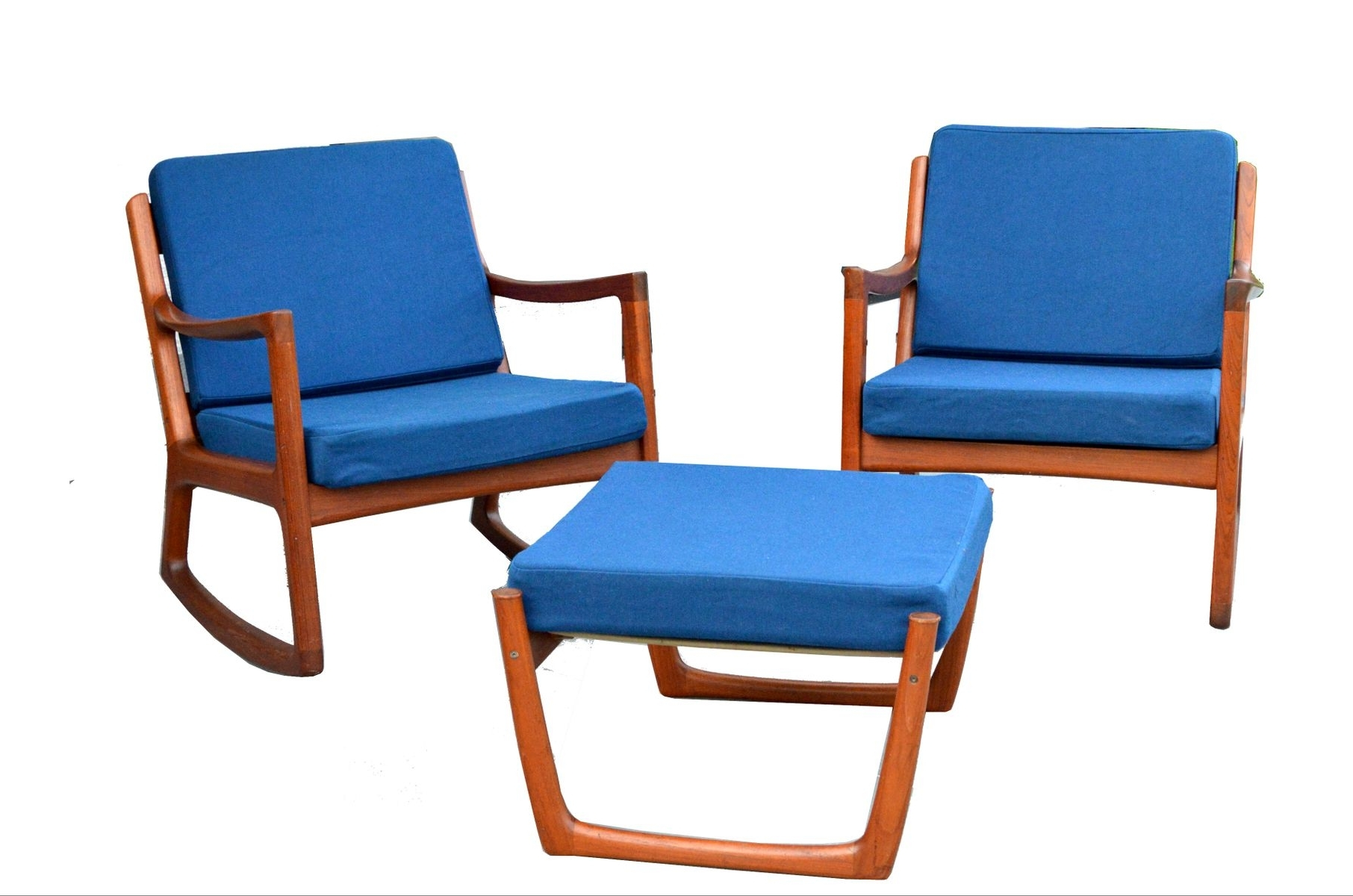 2 Senator Rocking Chairs & 1 Footstoolole Wanscher For France Intended For Most Recent Rocking Chairs With Footstool (View 13 of 20)