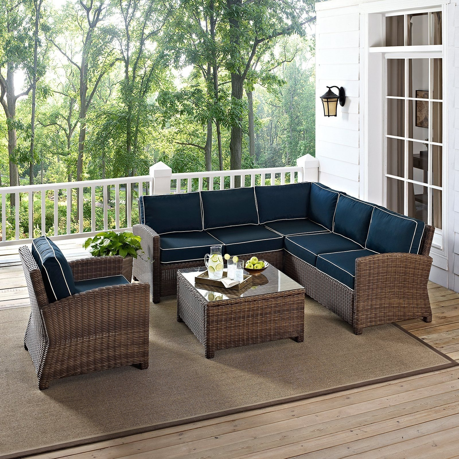 2018 Crosley Bradenton 5 Piece Outdoor Wicker Conversation Set Pertaining To 5 Piece Patio Conversation Sets (View 14 of 20)