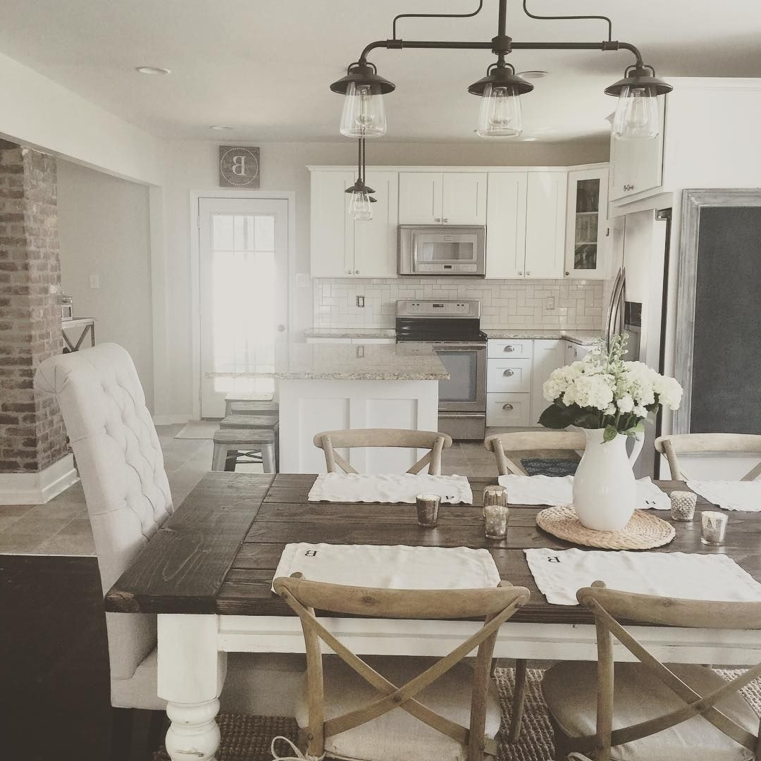 2018 Living Room Table Top Lamps Within Rustic Modern Farmhouse With Farmhouse Table With A Wood Top And (View 1 of 20)