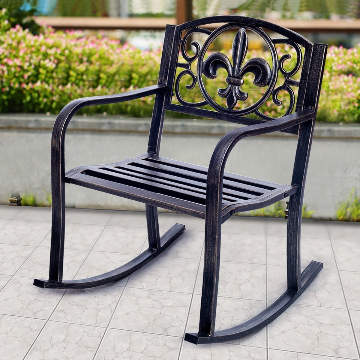 2018 Outdoor Patio Metal Rocking Chairs Regarding Costway: Costway Patio Metal Rocking Chair Porch Seat Deck Outdoor (View 6 of 20)