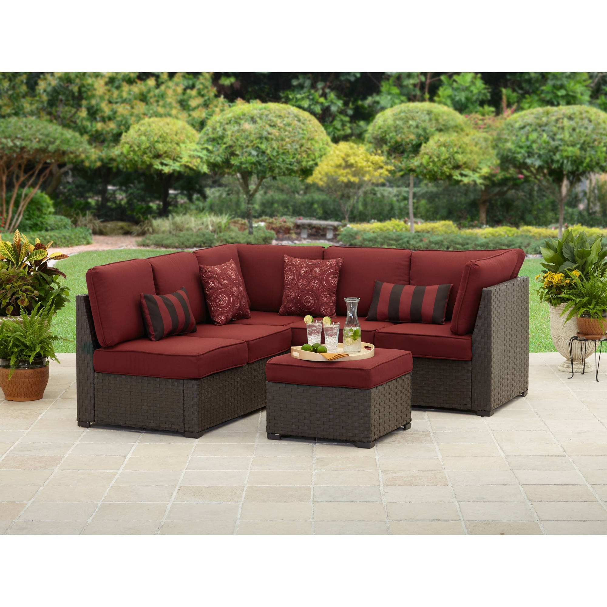 2018 Patio Conversation Sets With Ottomans With Regard To Better Homes And Gardens Rush Valley 3 Piece Outdoor Sectional (View 11 of 20)