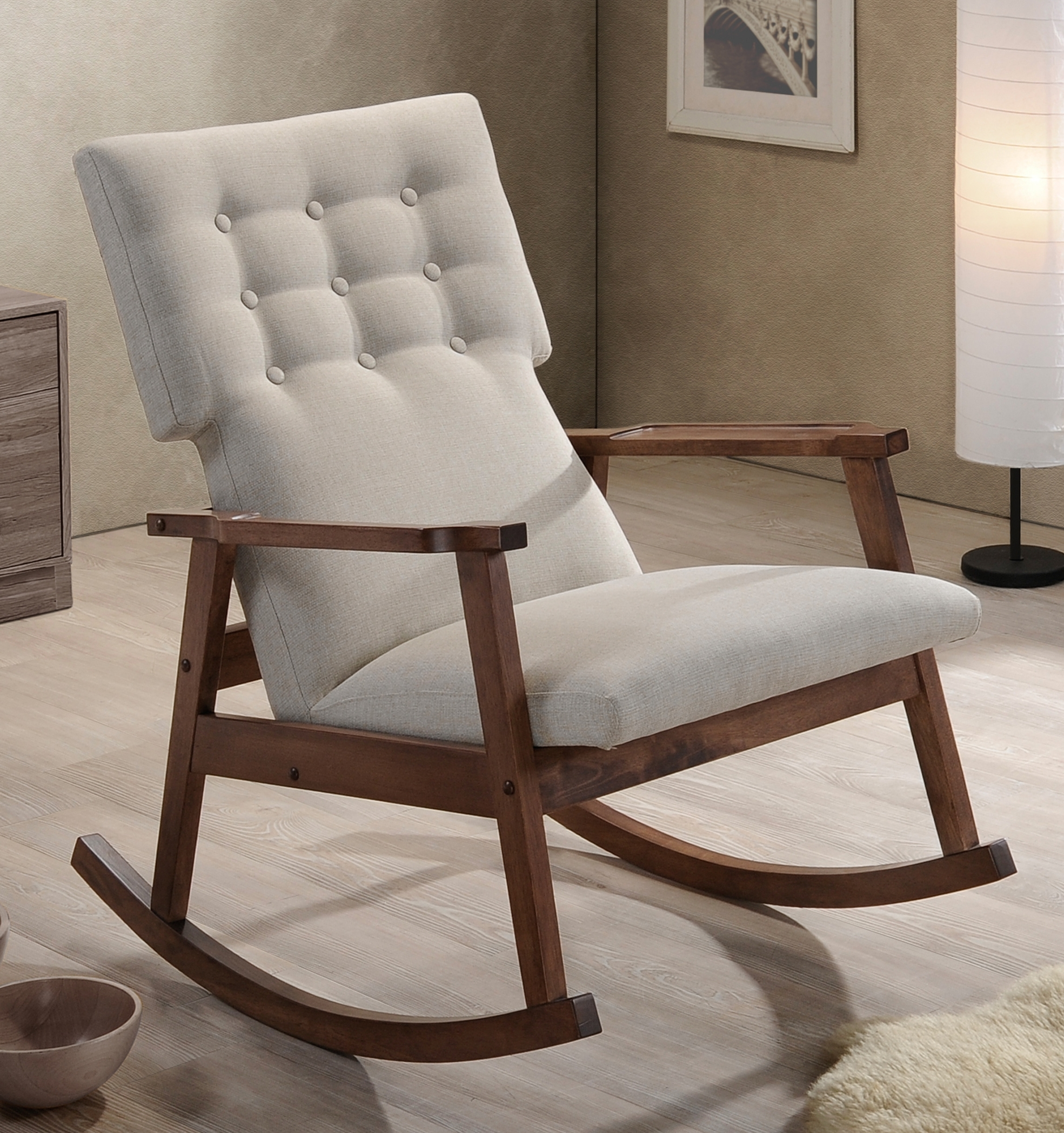 2018 Rocking Chairs At Wayfair Pertaining To Livingroom : Agreeable Fabric Rocking Chairs Living Room Furniture (View 8 of 20)
