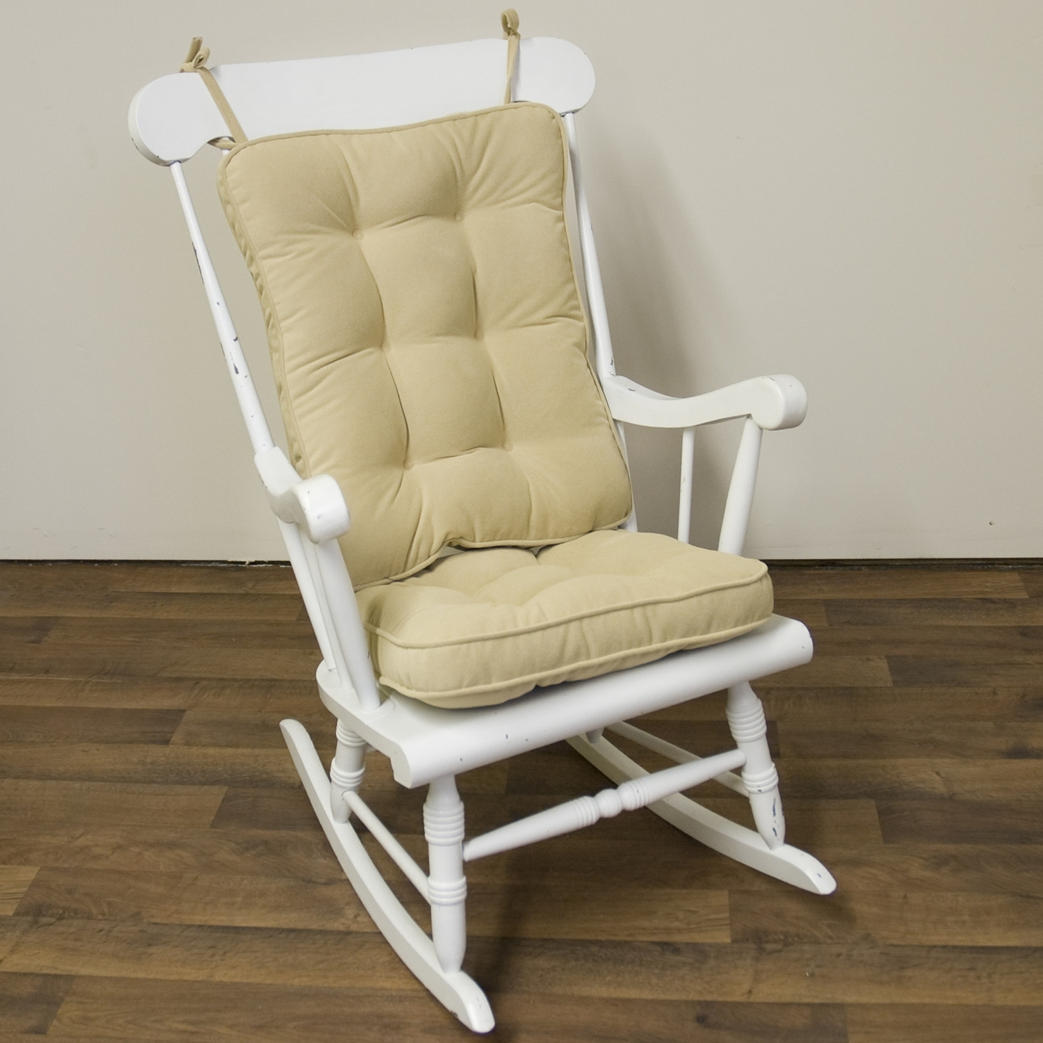2018 Rocking Chairs With Lumbar Support Throughout Piece Rocking Chair Cushion Set Cream Color Seat Back Nylon (View 2 of 20)
