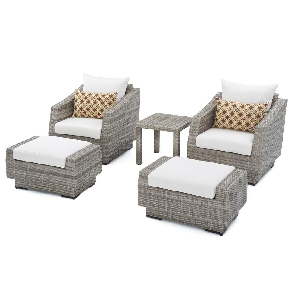 2018 Rst Brands Cannes 5 Piece Wicker Patio Club Chair And Ottoman Set With Patio Conversation Sets With Ottomans (View 2 of 20)