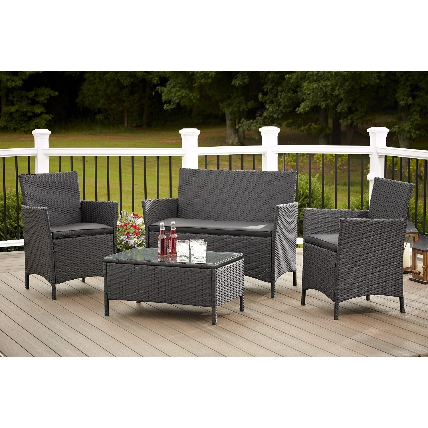 2018 Shop Avenue Greene 4 Piece Resin Wicker Deep Seating Patio Intended For Wicker 4pc Patio Conversation Sets With Navy Cushions (View 7 of 20)