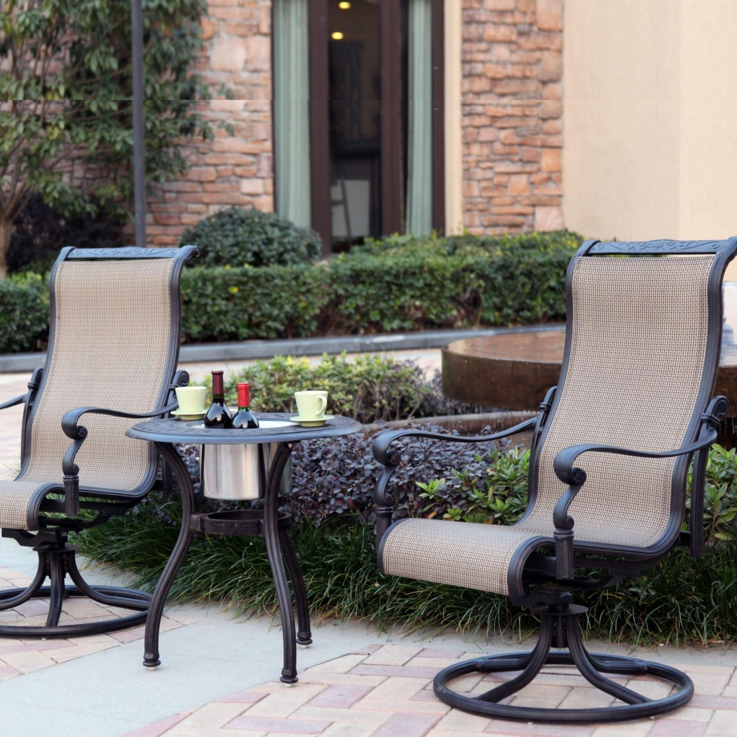 2018 Sling Patio Conversation Sets In Darlee Monterey 3 Piece Sling Patio Bistro Set – End Table With Ice (View 1 of 20)