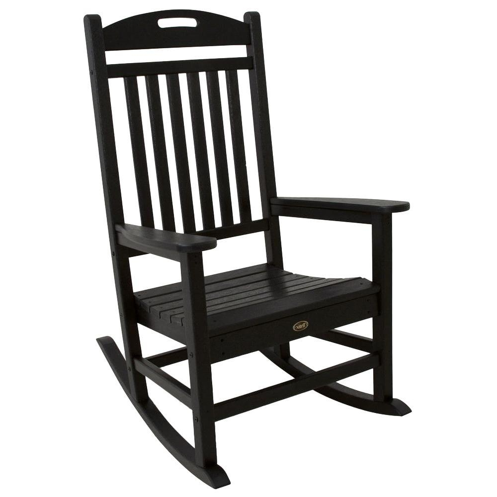 2018 Trex Outdoor Furniture Yacht Club Charcoal Black Patio Rocker Intended For Plastic Patio Rocking Chairs (View 6 of 20)