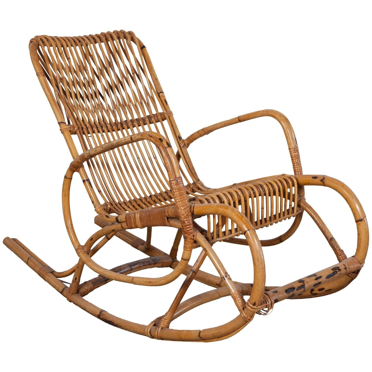 2018 Vintage Italian Bamboo Rocking Chair With Square Arms At 1Stdibs Regarding Antique Rocking Chairs (View 2 of 20)