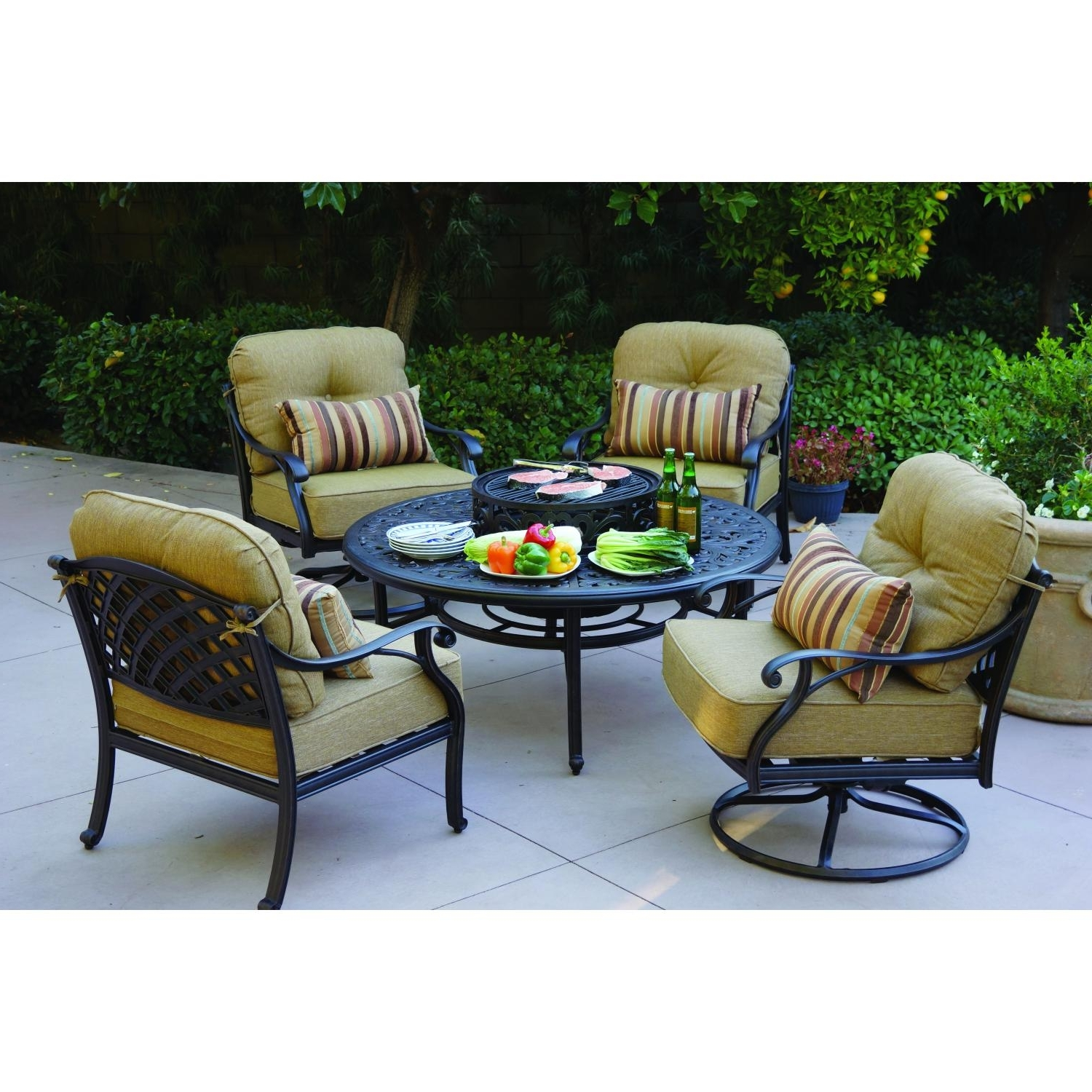 2019 Beautiful Round Propane Fire Pit Table And Chairs Conversation Sets Intended For Round Patio Conversation Sets (View 14 of 20)