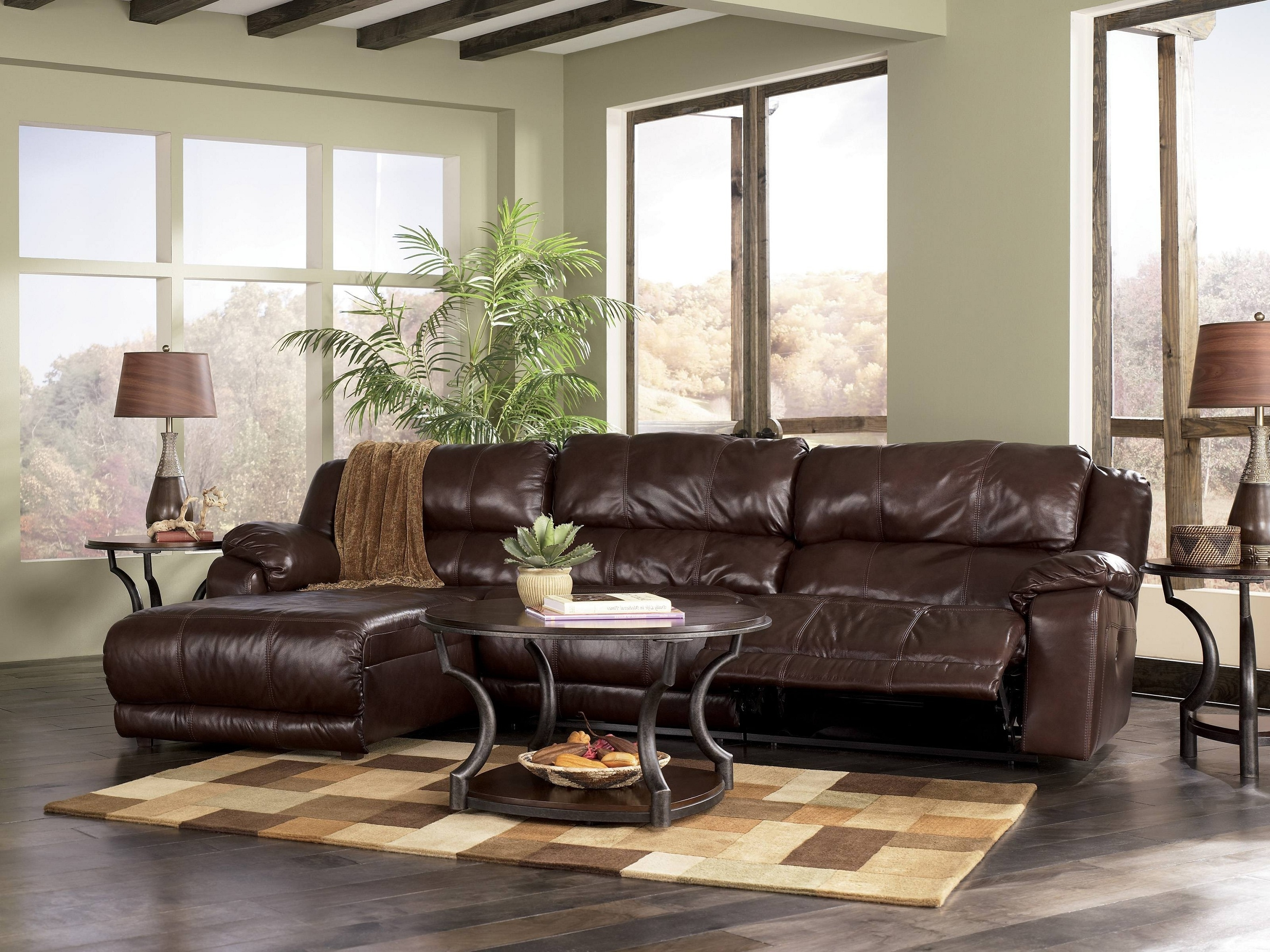 2019 Brown Living Room Table Lamps Within Dark Brown Leather Sofa And Brown Rug On The Floor Connectedtwin (View 1 of 20)