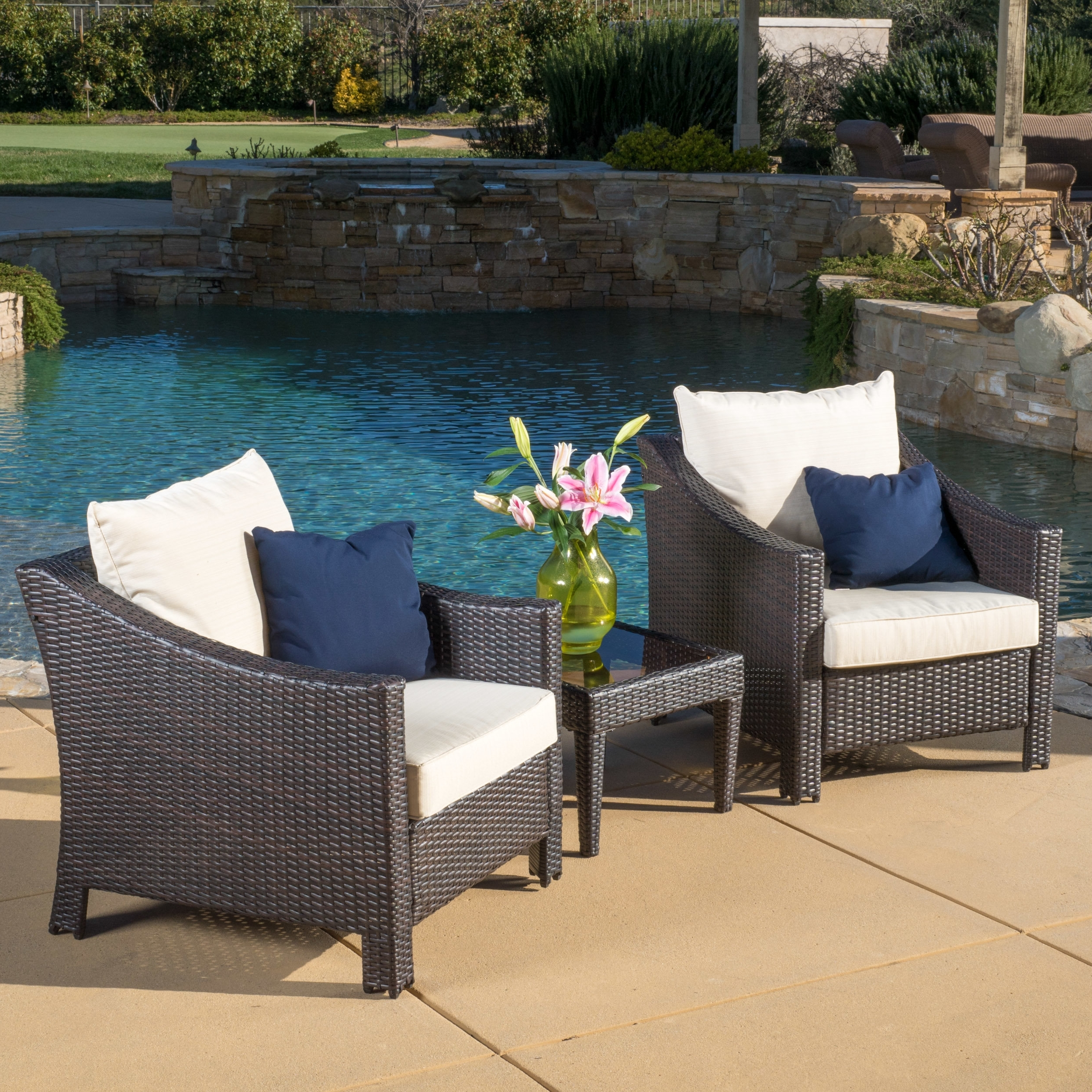 2019 Discount Sling Patio Furniture 4 Piece Wicker Chat Set In Brown Throughout Sling Patio Conversation Sets (View 11 of 20)