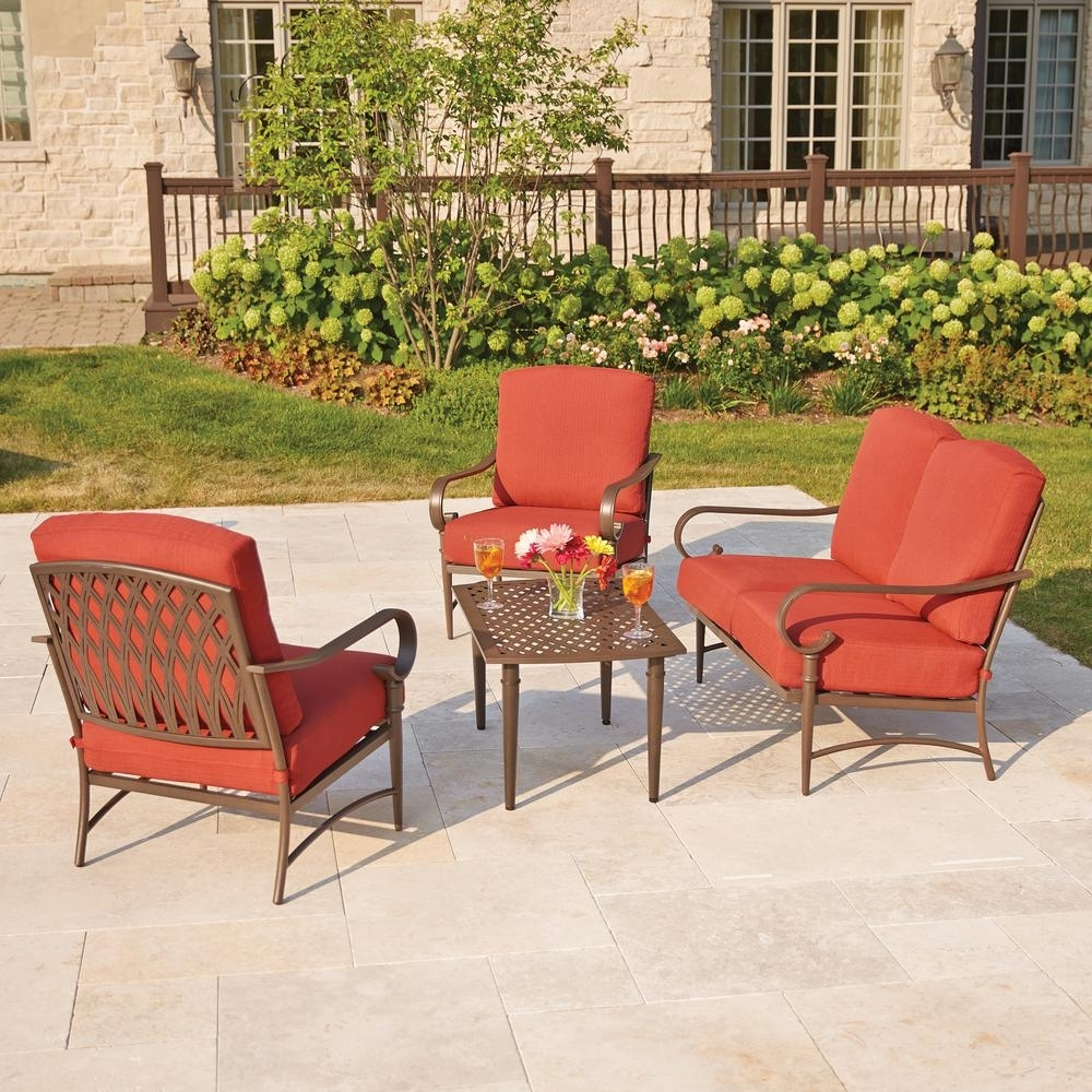 2019 Hampton Bay Oak Cliff 4 Piece Metal Outdoor Deep Seating Set With Within Patio Conversation Sets At Home Depot (View 3 of 20)