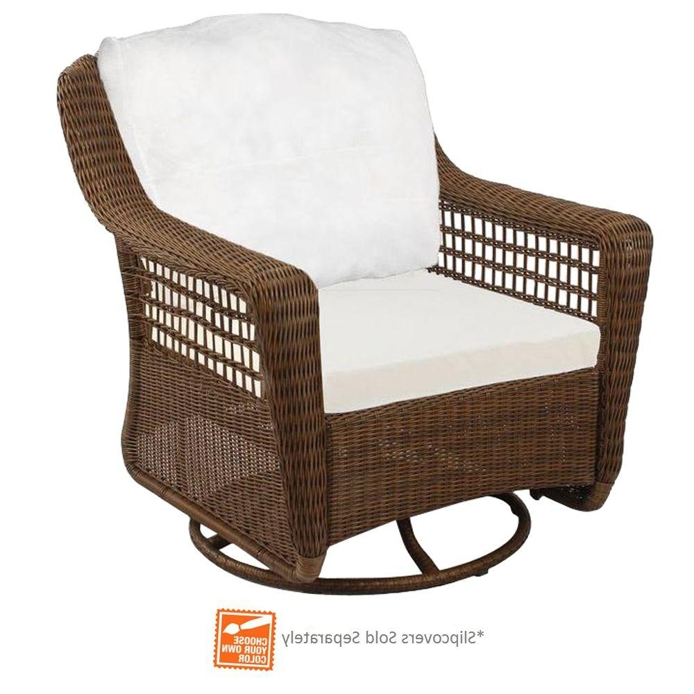 2019 Hampton Bay Rocking Patio Chairs Intended For Hampton Bay Spring Haven Brown Wicker Outdoor Patio Swivel Rocker (View 1 of 20)