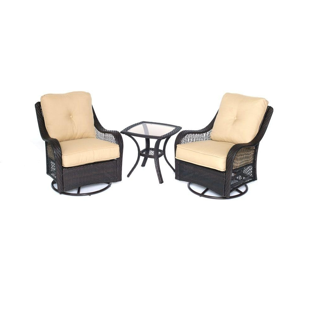 2019 Hanover Orleans 3 Piece All Weather Wicker Patio Swivel Rocking Chat In Patio Conversation Sets With Swivel Chairs (View 12 of 20)