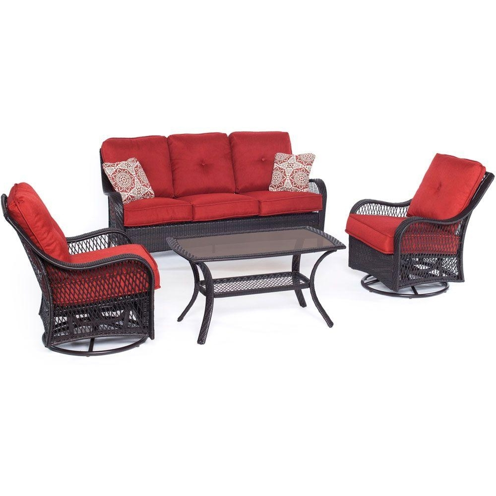 2019 Hanover Orleans 4 Piece All Weather Wicker Patio Deep Seating Set In Patio Conversation Sets With Glider (View 1 of 20)