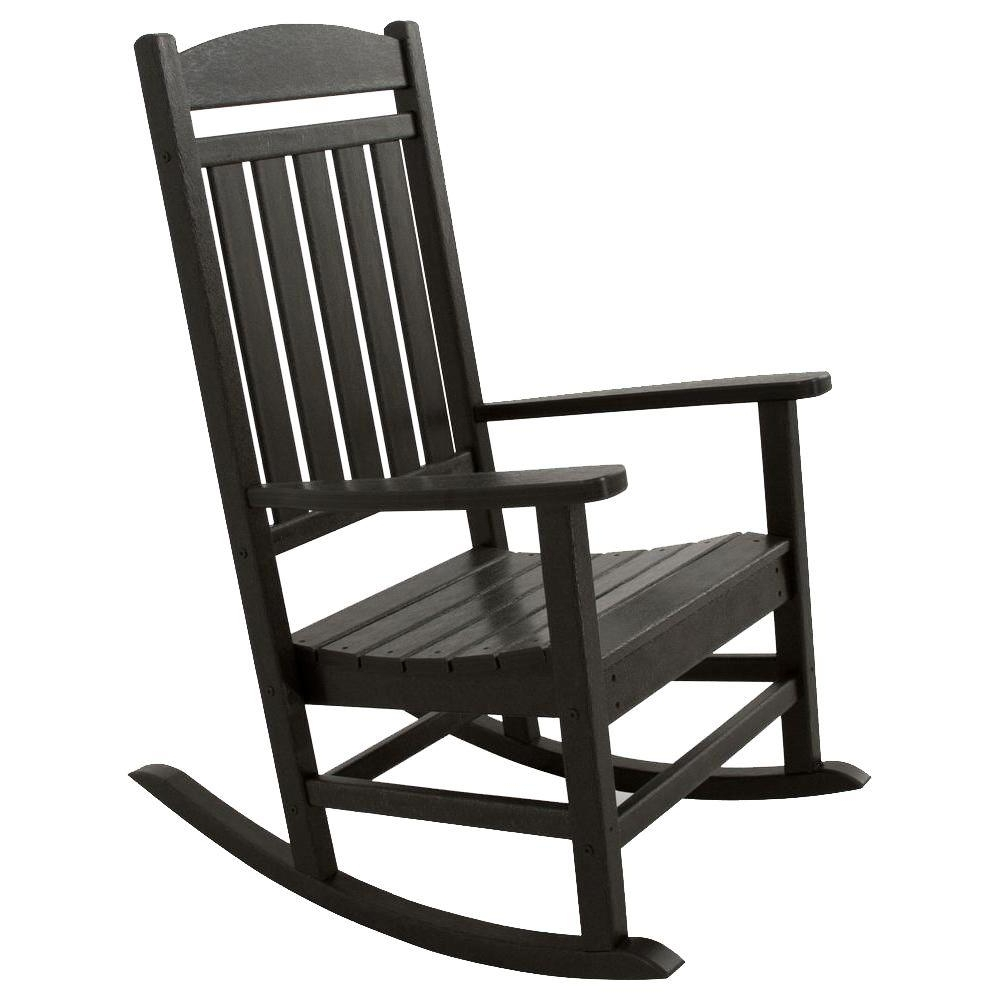 2019 Ivy Terrace Classics Black Patio Rocker Ivr100Bl – The Home Depot Pertaining To Manhattan Patio Grey Rocking Chairs (View 1 of 20)