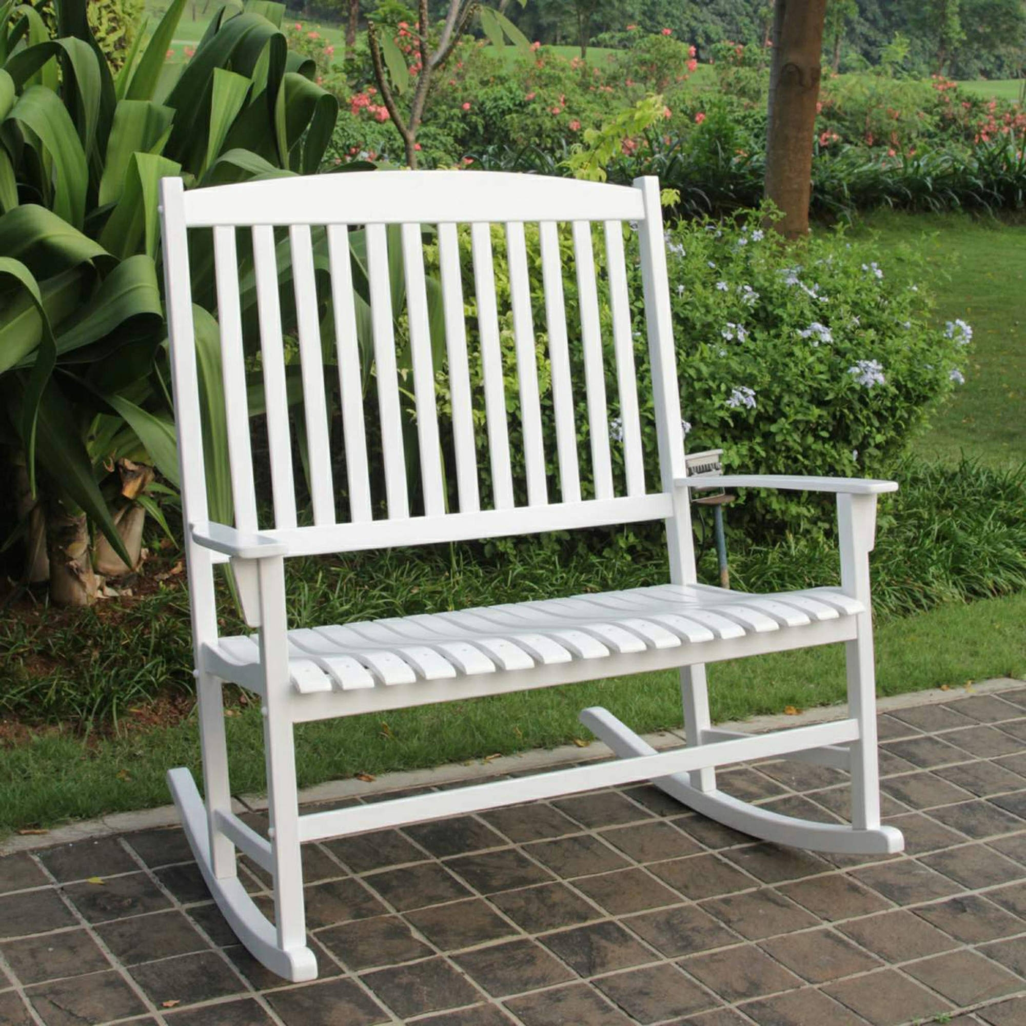 2019 Mainstays Outdoor Double Rocking Chair White Solid Hardwood Wide Regarding Modern Patio Rocking Chairs (View 1 of 20)