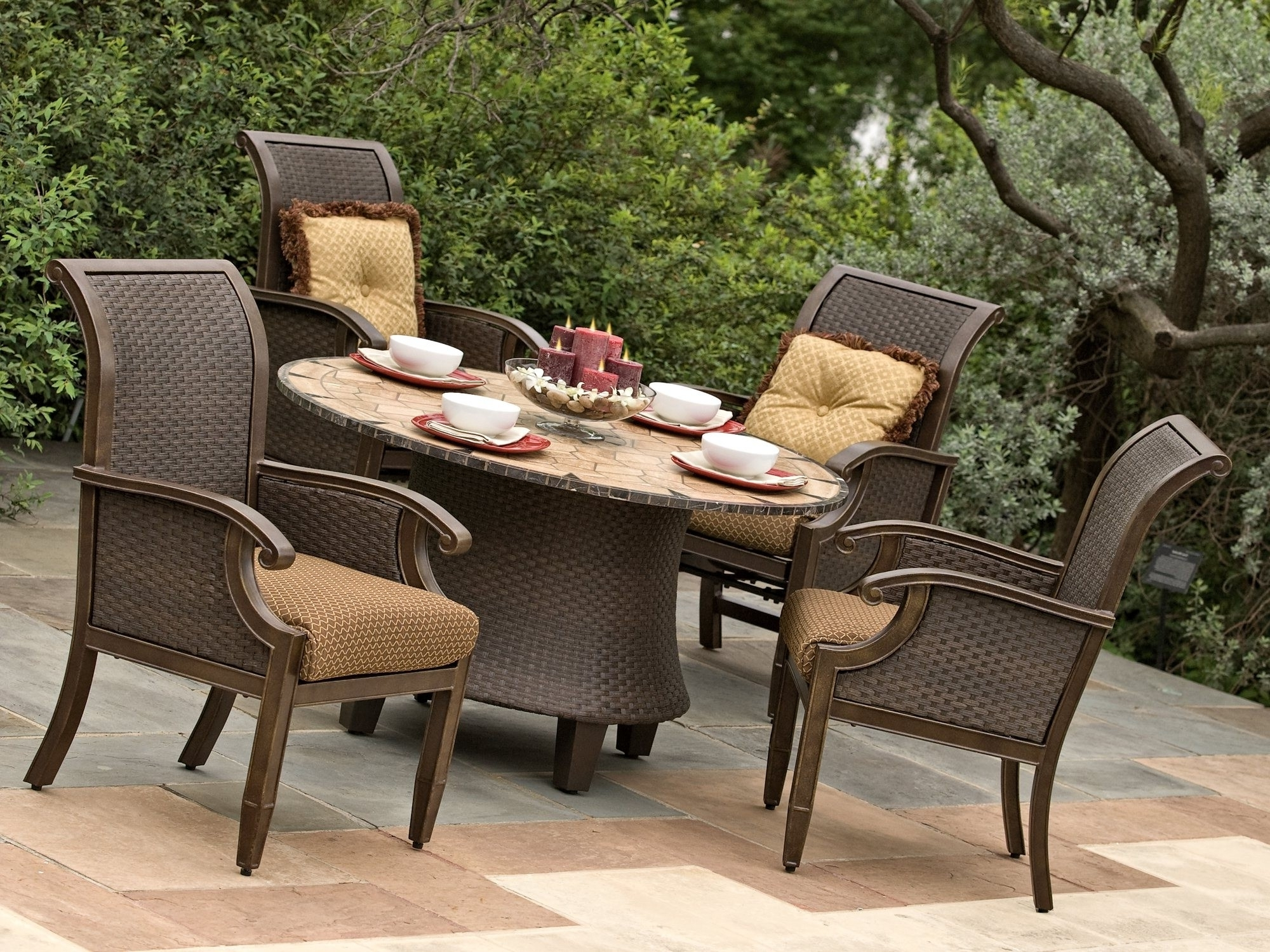 2019 Marvelous Outdoor Patio Furniture 27 Kor Relaxed Location Dining 923 In Patio Conversation Sets With Dining Table (View 6 of 20)