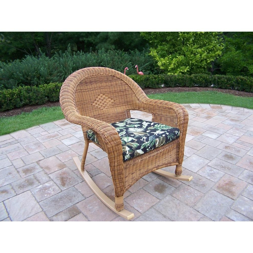 2019 Natural Wicker 1 Piece Patio Conversation Set With Black Floral With Black Patio Conversation Sets (View 15 of 20)