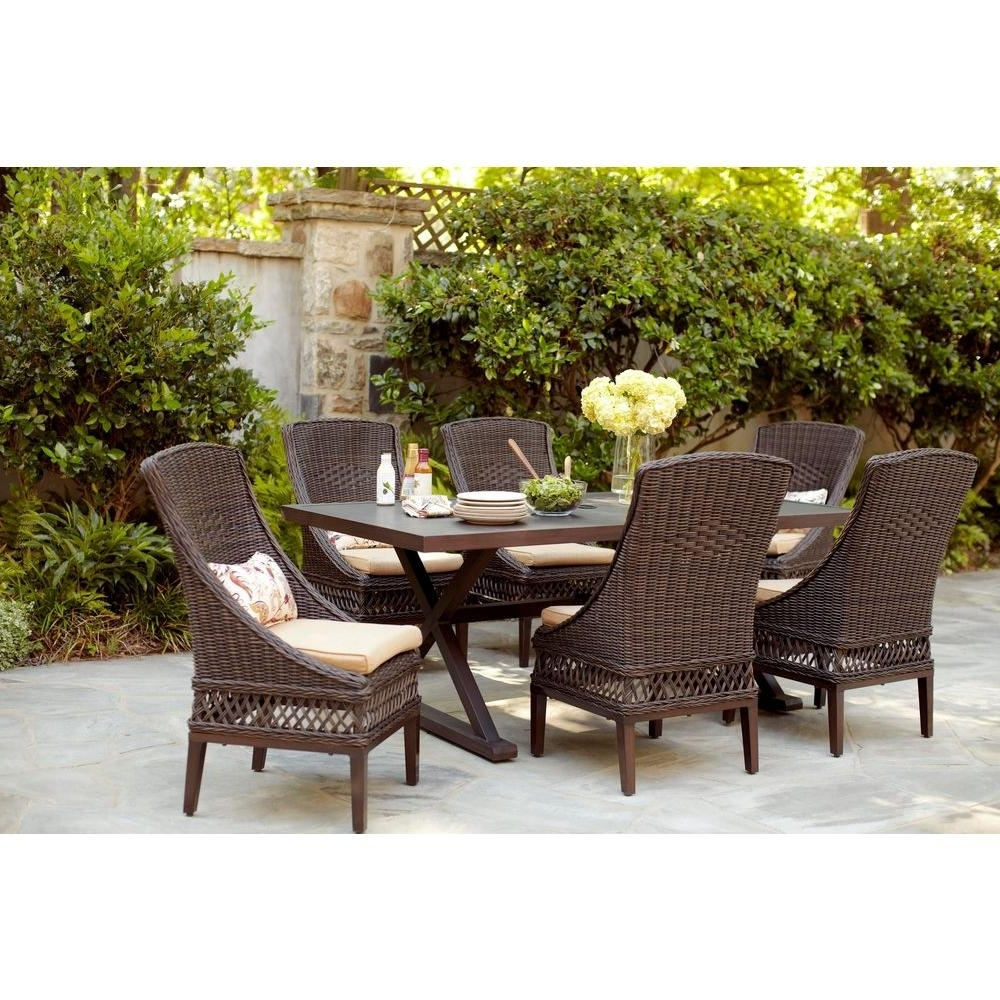 2019 Patio Conversation Dining Sets Within Hampton Bay Woodbury 7 Piece Wicker Outdoor Patio Dining Set With (View 1 of 20)