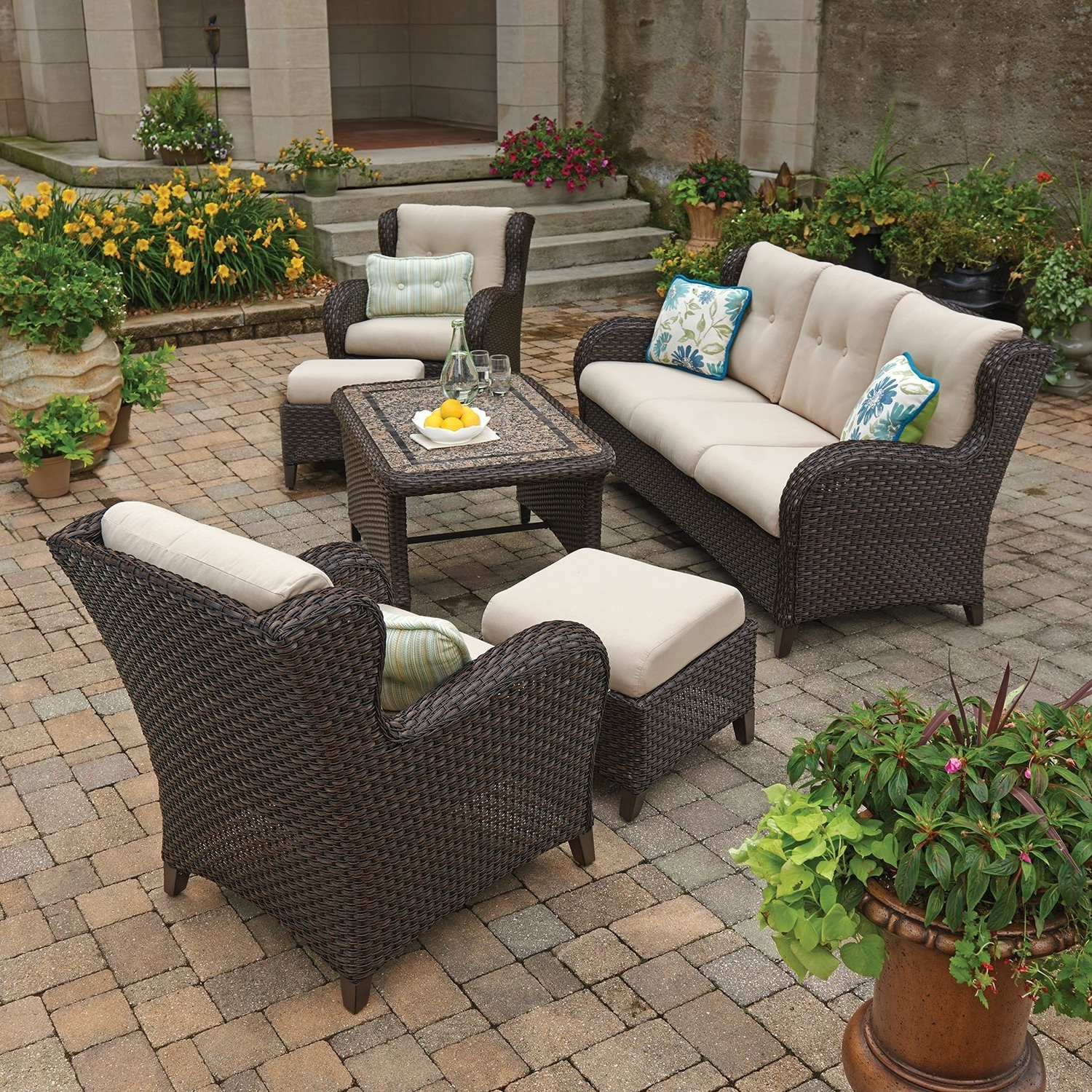 2019 Patio Conversation Sets At Sam's Club Inside Member's Mark Heritage 6 Piece Deep Seating Set With Premium (View 5 of 20)