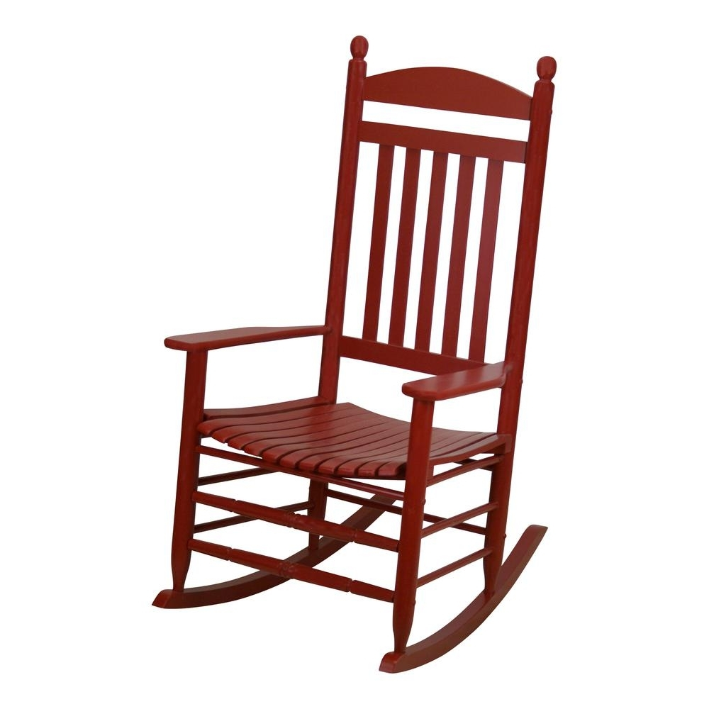 2019 Red Patio Rocking Chairs Throughout Bradley Slat Chili Patio Rocking Chair 200S Chil Rta – The Home Depot (View 4 of 20)