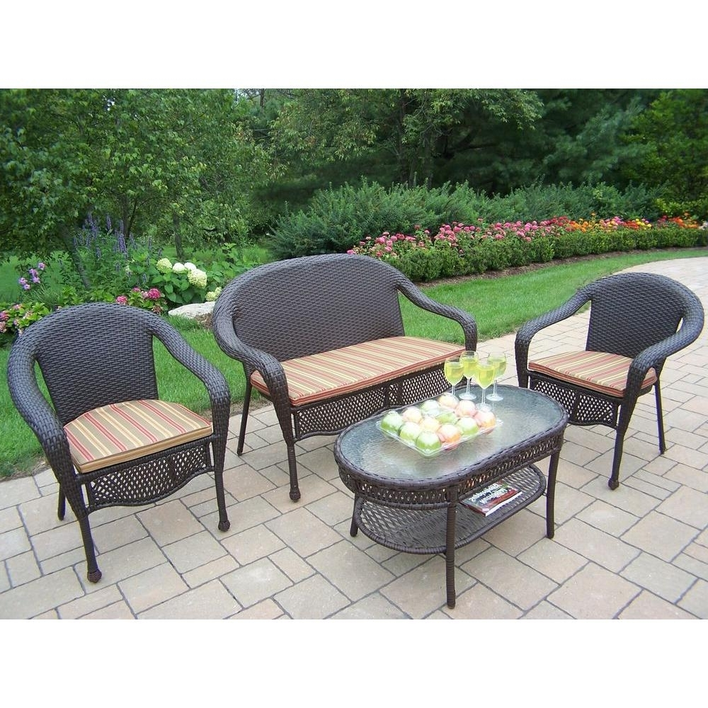 2019 Resin Wicker Patio Conversation Sets For Oakland Living Elite Resin Wicker 4 Piece Patio Seating Set With (View 3 of 20)