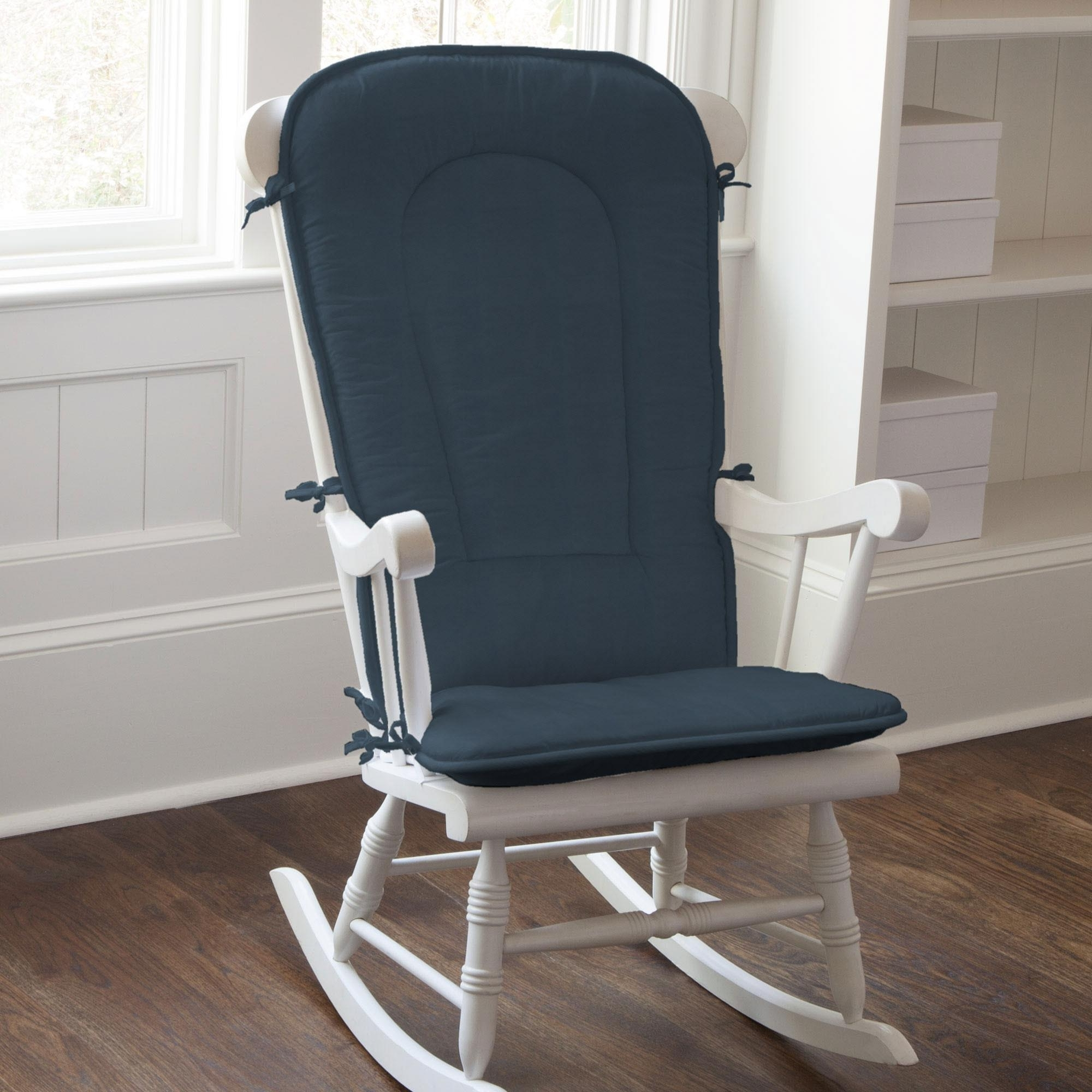 2019 Rocking Chairs With Cushions Pertaining To Solid Navy Rocking Chair Pad (View 2 of 20)
