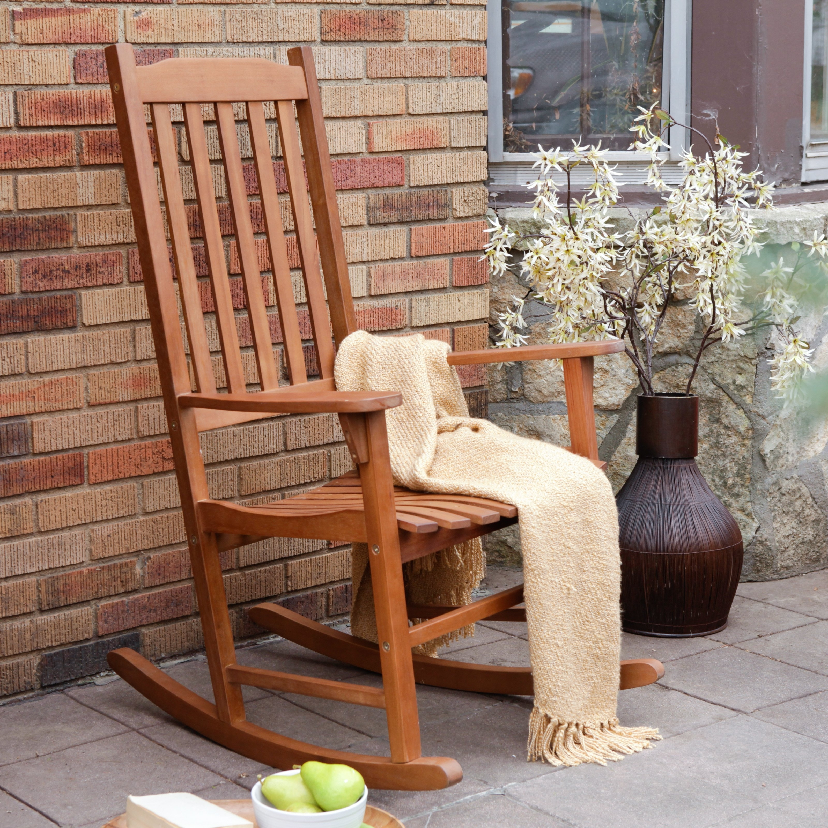2019 Wooden Patio Rocking Chairs Intended For Coral Coast Indoor/outdoor Mission Slat Rocking Chair – Natural (View 2 of 20)