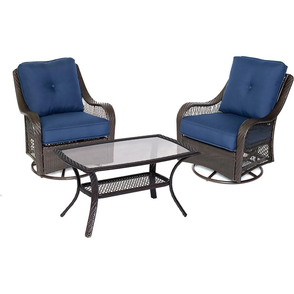 3 Piece Patio Conversation Sets Inside Fashionable Hanover Orleans 3 Piece Wicker Patio Conversation Set With Navy Blue (Gallery 11 of 20)
