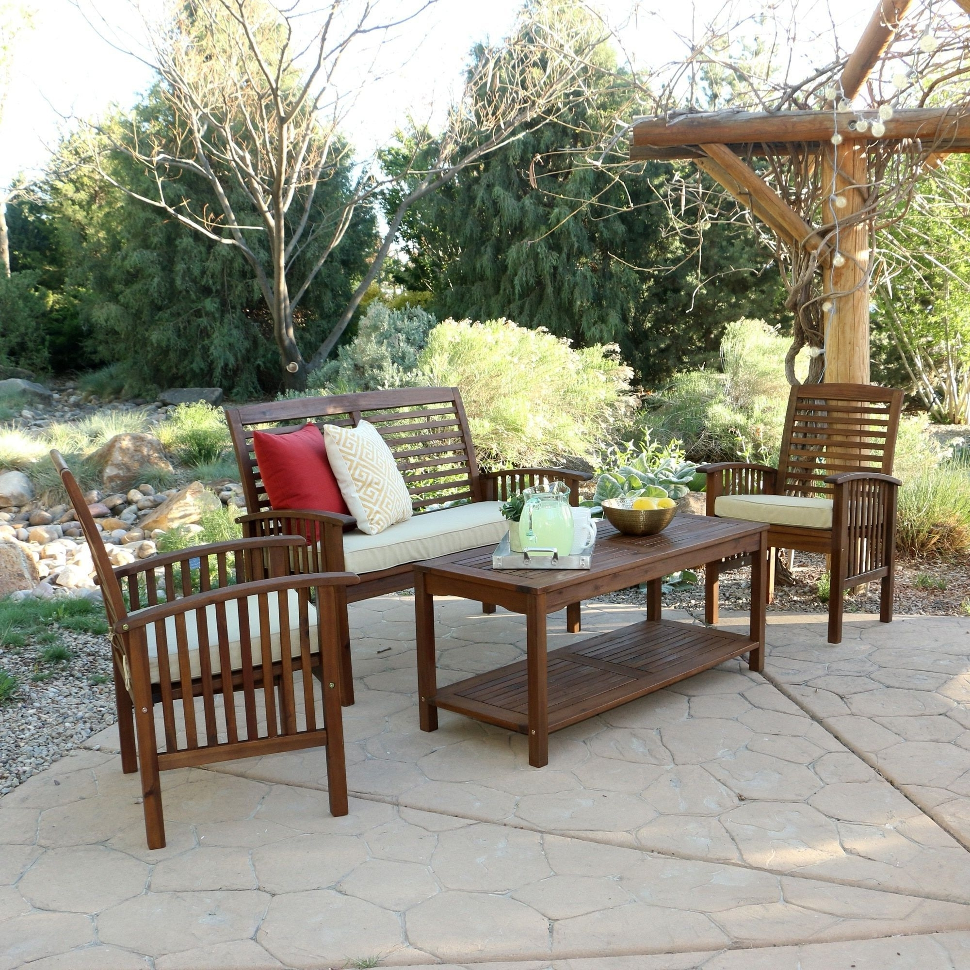 4 Piece Acacia Wood Patio Conversation Set, Brown, Size 4 Piece Sets With Regard To Famous Wood Patio Furniture Conversation Sets (View 2 of 20)