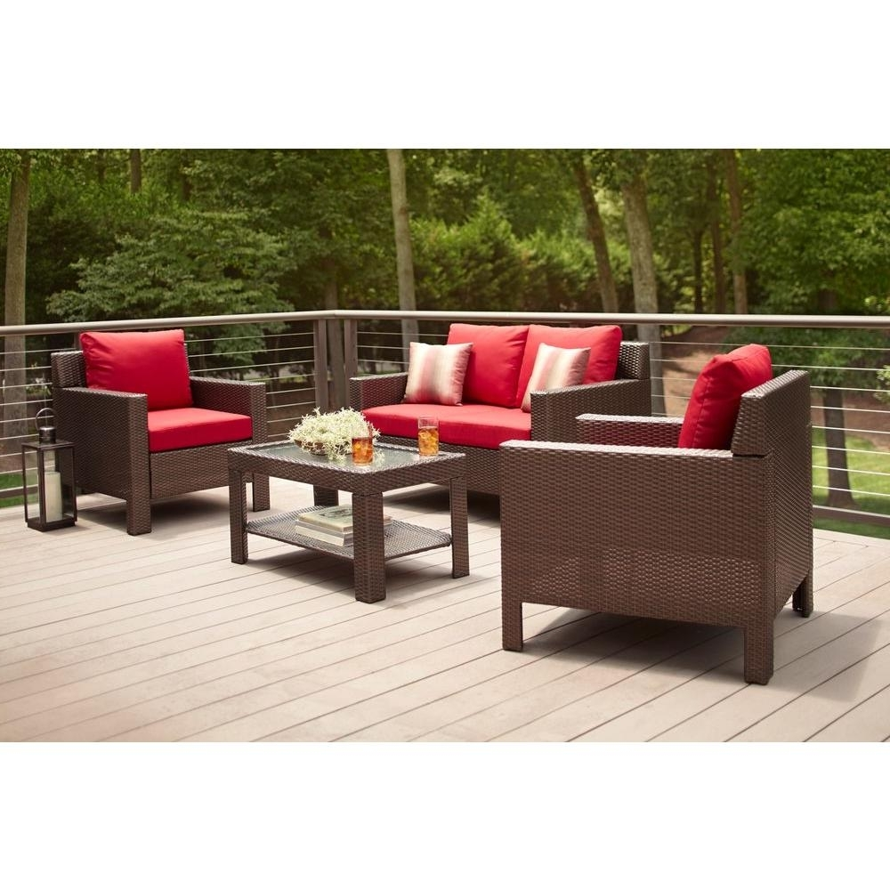 4 Piece Patio Conversation Sets Pertaining To Well Liked Hampton Bay Beverly 4 Piece Patio Deep Seating Set With Cardinal (Gallery 16 of 20)