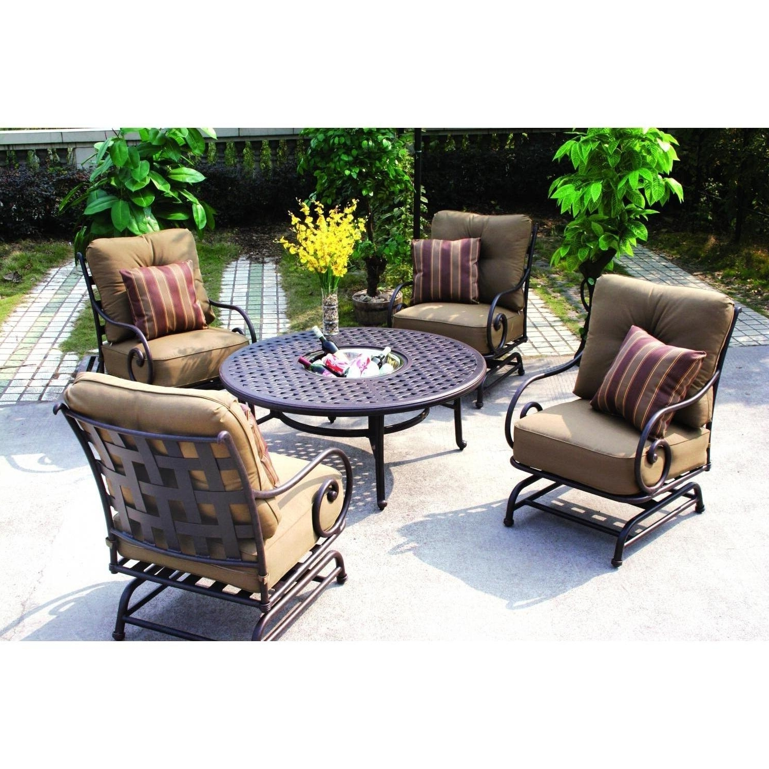 5 Piece Patio Conversation Sets Regarding Newest Darlee Malibu 5 Piece Cast Aluminum Patio Conversation Seating Set (View 20 of 20)