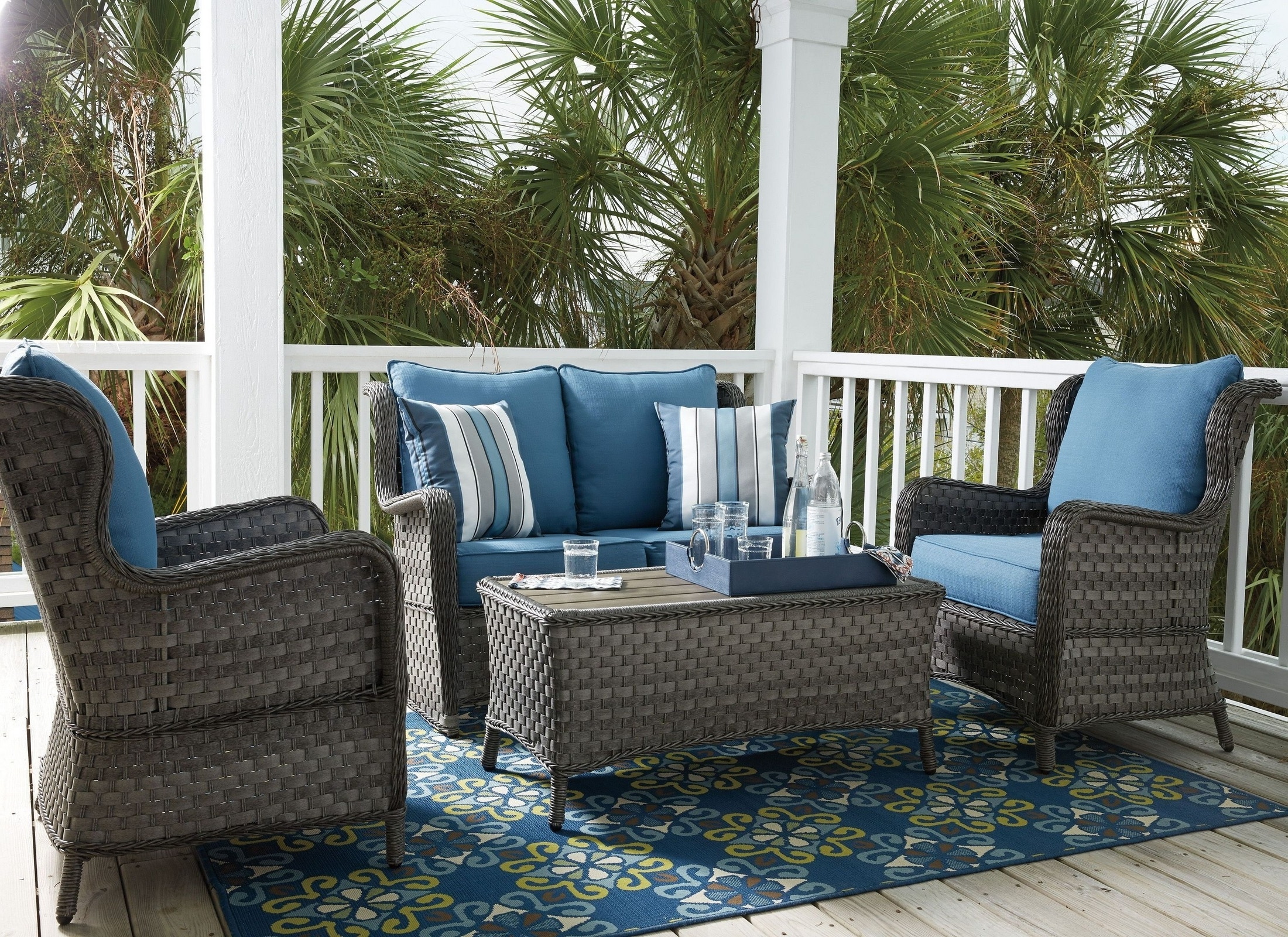 Abbots Court Blue And Gray Outdoor Conversation Set From Ashley For Most Recently Released Gray Patio Conversation Sets (View 2 of 20)