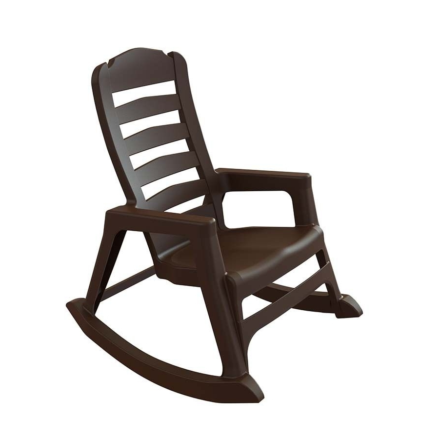 Adams Mfg Corp Earth Brown Resin Stackable Patio Rocking Chair With Regard To Most Current Resin Patio Rocking Chairs (View 13 of 20)
