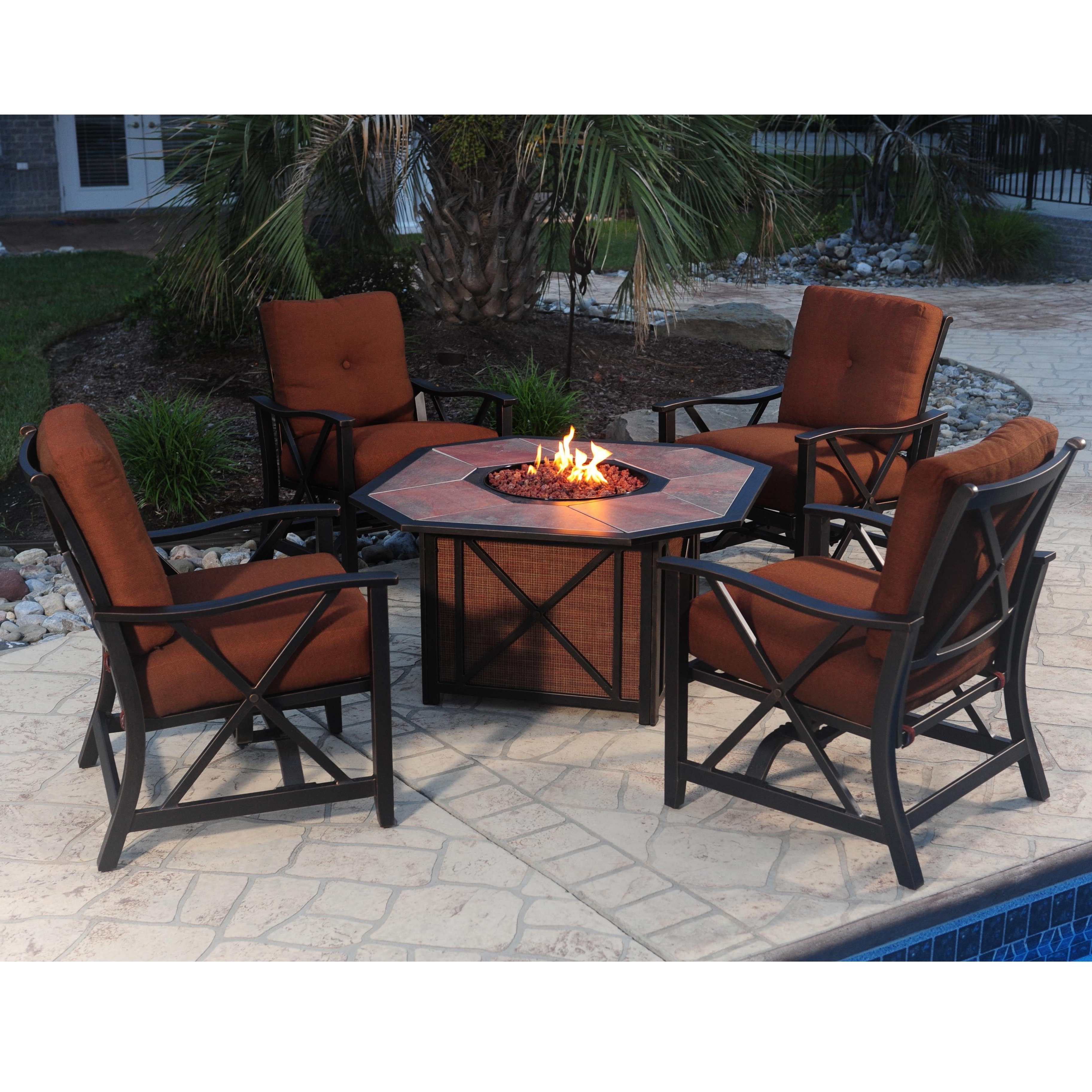 Agio Haywood 5 Piece Outdoor Fire Pit Set With Aluminum Stationary Throughout Most Recently Released Cast Aluminum Patio Conversation Sets (View 10 of 20)