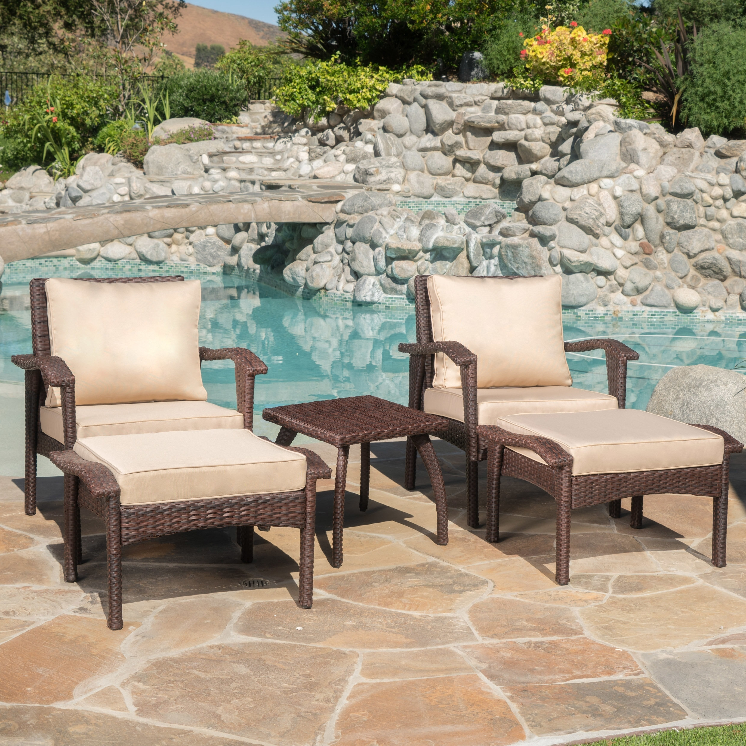 Alcott Hill Springboro 5 Piece Conversation Set With Cushions Regarding Most Up To Date Patio Conversation Sets With Ottoman (Gallery 18 of 20)