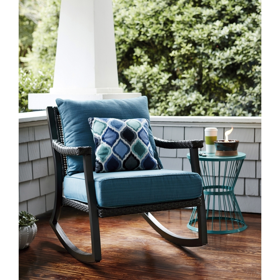 All Weather Patio Rocking Chairs For Best And Newest Netle Brown Steel Patio Rocking Chair Allen Roth Patio Furniture (View 5 of 20)