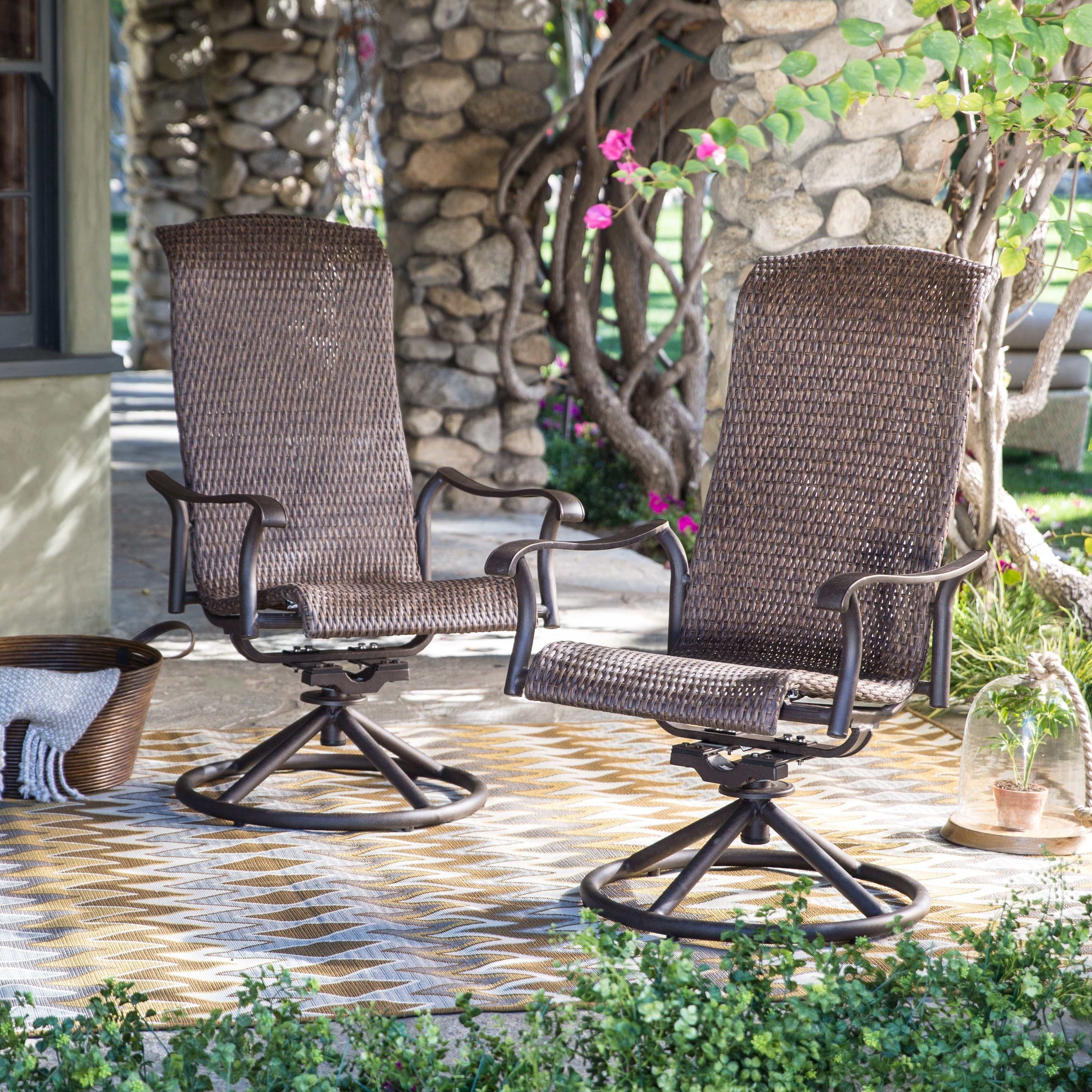 All Weather Patio Rocking Chairs Within Most Recent Belham Living Charter All Weather Wicker Swivel Rocker Set Of Patio (View 10 of 20)