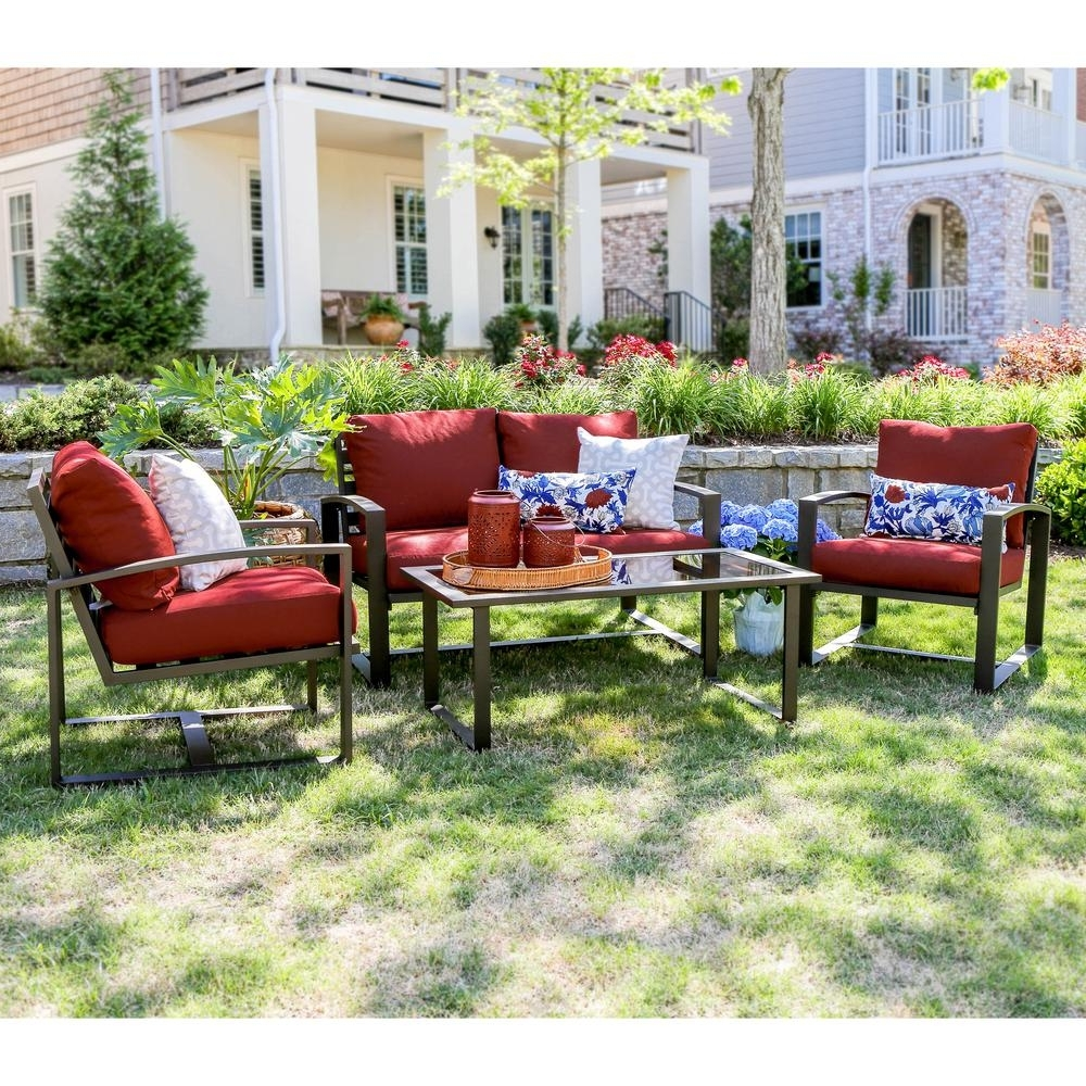 Aluminum Patio Conversation Sets Inside Fashionable Leisure Made Jasper 4 Piece Aluminum Patio Conversation Set With Red (View 3 of 20)