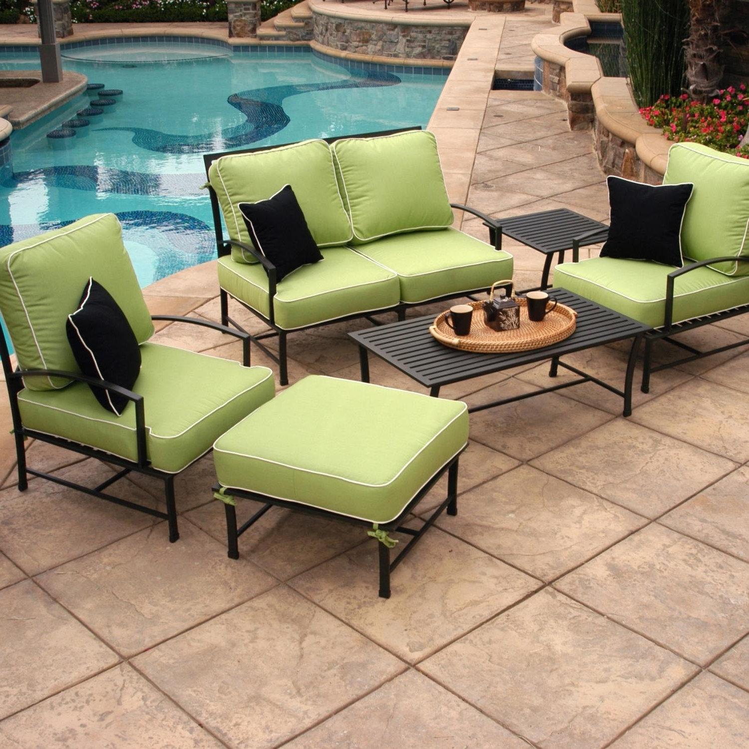 Aluminum Patio Conversation Sets Regarding Most Up To Date Caluco San Michele 4 Person Aluminum Patio Conversation Set (View 4 of 20)